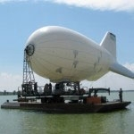SkySentry aerostat on barge in Lake Erie